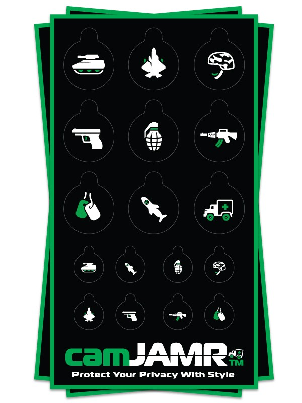 Xbox, iPhone, iPad, Macbook, iMac, Amazon Kindle Web camera covers / privacy stickers - camJAMR Army Bundle