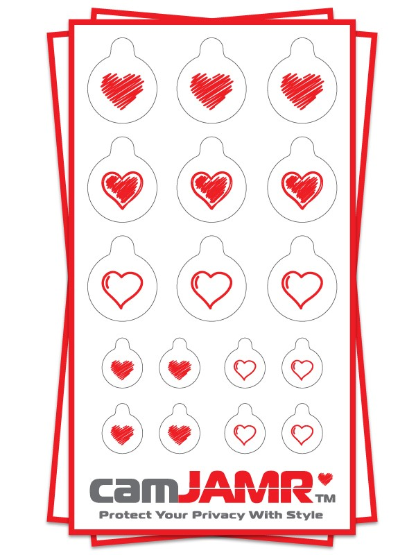 Xbox, iPhone, iPad, Macbook, iMac, Amazon Kindle Web camera covers / privacy stickers - camJAMR Hearts Bundle